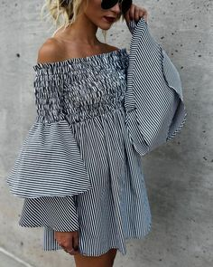 2018 Women Holiday Off Shoulder Stripe Party Ladies Casual Dress Long Sleeve Dress Drop Shipping Apr 20 XL Off Shoulder Lace Dress, Plus Size Summer Dresses, Summer Skirts, Dress Summer, Bell Sleeve Dress, Looks Cool, Casual Dresses For Women, Dress Casual, Women's Casual