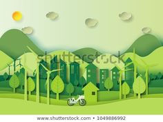 Save the world and environment concept.Eco green city and urban landscape for green energy paper art style. Energy Smoothies, Aquaponics Plants, Eco Green, Environment Concept, Vector Photo, Urban Landscape, Photo Illustration, Ecology, Videos