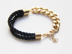 Half and Half: Gold chunky chain and black Silk Bracelet - 24k gold plated. $19.99, via Etsy.