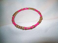 enamel bangle bracelet, enamel bracelet, goldtone pink bangle bracelet by vintagebyrudi on Etsy