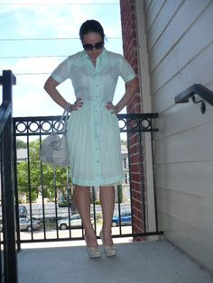 Vintage 40s 50s sheer Shirt Waist Dress/Anne Stacey Mint Green pleated skirt/Shift Dress as is by Jeansvintagecloset on Etsy