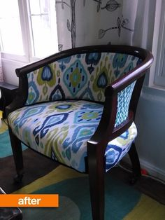 Before & After: Natalie's New, Blue Chair Special - love the bold ikat fabrics and the dark stain!