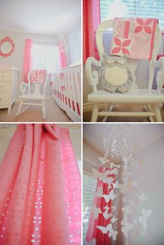 Cute girls room. DIY mobile. Would change curtains to floor length. Hate short curtains. Just pin up on sides for baby safety