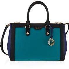 Henri Bendel West 57th Blocked Carryall (870 RON) ❤ liked on Polyvore featuring bags, handbags, blue multi, colorblock bag, carryall bag, color block handbag, colorblock purse and pouch purse