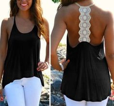 Black Patchwork Lace Condole Belt Hollow-out Halter Tank Sexy Casual Loose Vest