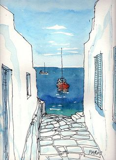 Sketched Watercolor of Greece.