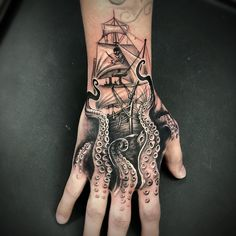Tattoodo - Octopus Tattoo by Brittany McCoy . - Tattoodo – Octopus tattoo by Brittany McCoy and gray - Pirate Hand Tattoo, Pirate Tattoo Sleeve, Ship Tattoo Sleeves, Nautical Tattoo Sleeve, Pirate Skull Tattoos, Small Skull Tattoo, Pirate Ship Tattoos, Skull Hand Tattoo, Nautical Tattoos