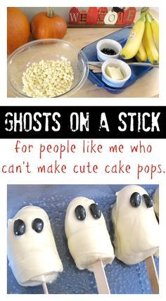 These are so good - and easiest homemade Halloween treat ever! Frozen banana ghost pops.