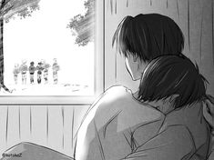 Rivaille (Levi) x Eren Jaeger I'm not really for this ship, BUT this is freaking cute and sad at the same time