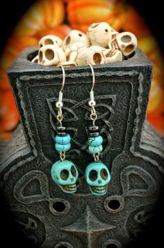 blue ceramic skulls round crackle turquoise by aimeeNandysEarrings, $12.00