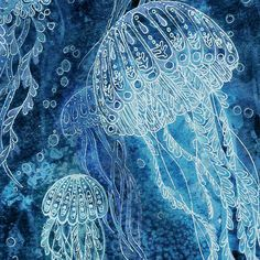 This is a print made from my original hand painted illustration of jellyfish gracefully swimming through deep ocean waters. ---------------------------------------------------------------------------  **Fine Art Print**: Printed on beautiful thick, textured, 100% cotton rag, acid free archival paper. It will last for over 100 years!  **Gallery Wrap Canvas Print**: (USA ONLY, contact me for international orders) The canvas is 1.5 thick, so it will look beautiful hung as is, or framed. Each…
