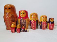 Vintage Wood Russian Matryoshka Nesting Dolls 10 Piece Set Wooden Hand Painted #Unbranded