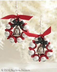 DIY Christmas crafts don't get much more festive and elegant than the Jingle Bell Wreath Earrings. With bright red ribbon, silver beads, and a festive bow, these DIY earrings are the epitome of holiday charm. Christmas Jewelry, Christmas Crafts For Kids, Simple Christmas, Holiday Crafts, Christmas Diy, Christmas Decorations, Crochet Christmas, Homemade Christmas, Holiday Decor