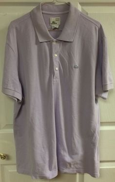 Lacoste Vintage Washed Light Purple Short Sleeve Polo Shirt Men's Size 7 X-Large…