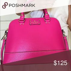 Hot Pink Kate Spade Is not brand new but Still in great condition! Main issue are some pen marks/dark spot on the INSIDE of the purse on the side and bottom. Realistic offers only please 😊 comes with dust bag kate spade Bags Shoulder Bags