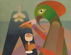 Victor Brauner 1903 - 1966 RÊVERIE signé VICTOR BRAUNER et daté 1964 (en bas à droite); titré RÊVERIE, signé VICTOR BRAUNER et daté 1964 (au dos) huile sur toile 88,9 x 115,6 cm ; 35 x 45 1/2 in. Peint en 1964.