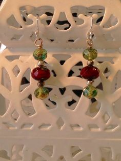 Czech Glass Red and Green Verdigris Earrings by MeiCustosAngele on Etsy