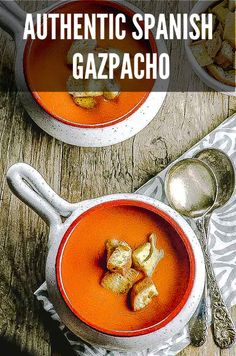 From our years living in Spain, we bring you this Authentic Spanish Gazpacho Recipe. Nothing like a cold refreshing bowl of authentic Spanish Gazpacho to cool off this summer. Authentic gazpacho from Spain is silky and smooth not chunky. You can add some Vegetarian Entrees, Vegan Soups, Vegan Vegetarian, Vegan Food, Healthy Soup Recipes, Delicious Vegan Recipes, Authentic Spanish Gazpacho Recipe, Spanish Soup, Spanish Tapas