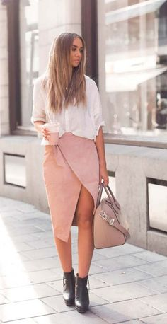 #blush #skirt white shirt #outfit