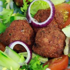 This easy falafel recipe is a good one to try.  The base ingredient in a falafel is chickpeas.  They taste good hot or cold and can provide the protein portion to your meal.