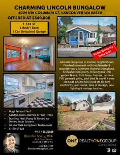 Just Listed! Real Estate for Sale: $340,000-2 Bd/1 Ba Charming Two Level Lincoln Bungalow with 2nd Kitchen in Finished Basement & Paid-for Solar System on .12 Acre Lot at: 4004 NW Columbia St, Vancouver, Clark County, WA! Area 14. Listing Broker: Brendan Scully (360) 836-7259, Realty One Group Cascadia, Vancouver, WA! #realestate #justlisted #vancouverrealestate #lincolnrealestate #bungalow #twolevel #twobedroom #finishedbasement #twokitchens #garden #fruittrees #paidsolarsystem