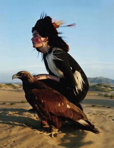 Tereni girl with hunting eagle.
