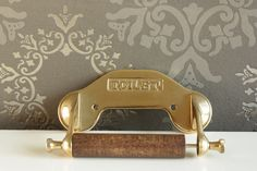 Vintage toilet paper holder - wood and brass