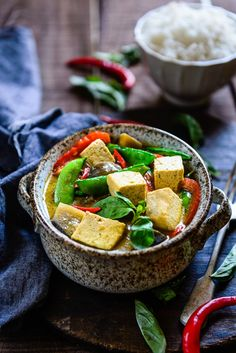 For Thai Green Curry with Eggplant, Snow Peas and Tofu,I used different ingredients such as garlic,green curry paste, bell peppers, lime leaves etc.