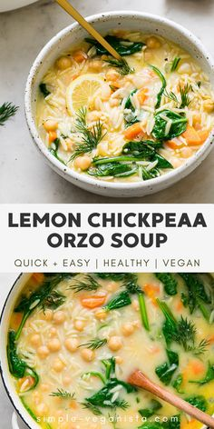 This simple Greek inspired vegan lemon orzo soup recipe with chickpeas and dill is healthy, super easy to make and will be ready in 30 minutes! Vegan Soups, Vegan Dishes, Easy Vegan Soup, Vegetarian Crockpot Soup, Vegan Slow Cooker, Vegetarian Cooking, Whole Food Recipes, Cooking Recipes, Healthy Recipes