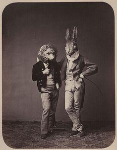 Funny Weird Odd Victorian Gentleman Wearing Animal Costumes T shirt Retro Halloween, Costume Halloween, Spooky Costumes, Party Costumes, Halloween Pictures, Costume Ideas, Animal Masks, Animal Heads, Fox Animal