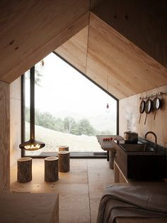 Modern architecture house design with minimalist style and luxury exterior and interior and using the perfect lighting style is inspiration for villas mansions penthouses Cabin Design, Tiny House Design, Cabin In The Woods, Tiny House Cabin, Tiny Cabins, Cabin Interiors, Small House Interiors, Interior Architecture, Modern Interior
