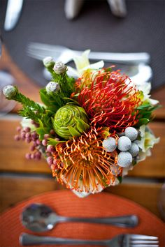 Beautiful fynbos wedding flowers, wedding at Black Oystercatcher.
