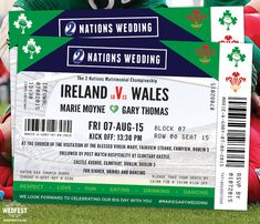 Rugby Ticket Wedding Invites - Marie & Gary wanted Rugby Ticket Wedding Invites in the style of a 6 nations Rugby ticket and to feature both Ireland and Wales Rugby Wedding, Sports Wedding, Irish Wedding, Ireland Wedding, Quirky Wedding, Seaside Wedding, Elegant Wedding, Dream Wedding, Wedding Invitation Samples