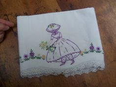 Vintage hand Embroidered Pillow case Garden Girl by PlantDreaming, $11.00