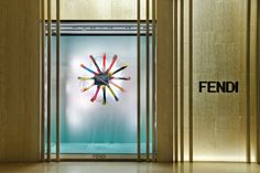 The Fendi Strap You accessory collection displayed in the new boutique window theme in Chengdu, China.