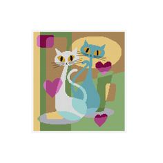 A modern cross stitch chart of two elegant cats.  Chart specs. • stitch count - 150 x 138 stitches • finished size - 10.7 in x 9.8 in / 27.2 cm x 25 cm  when sewn on 14 count aida • stitches used - whole cross stitch, fractional stitches and back stitch.  This chart arrives to you as an instant pdf download.  The pdf includes • full colour chart with symbols • key for DMC stranded thread (including estimated skein usage)  ©2016 Durene Jones. Thank you and HAPPY STITCHING