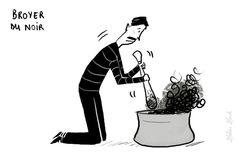 Broyer du noir : être triste, se faire du souci. Les expressions imagées de la langue française.