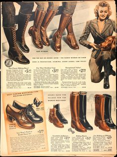 boots lace up camp boots shoes color photo print ad vintage fashion styl. boots lace up camp boots shoes color photo print ad vintage fashion style Vintage Outfits, Vintage Shoes, Retro Shoes, Moda Vintage, Vintage Mode, Vintage Ladies, Retro Vintage, 1940s Fashion, Vintage Fashion