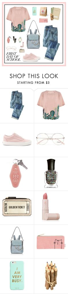 """""""Campus Chic: First Day of School"""" by shoujoandmore ❤ liked on Polyvore featuring Wrap, Vans, Chloé, Deborah Lippmann, Lipstick Queen, ban.do, Kate Spade, BackToSchool, casual and contest"""