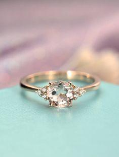 Morganite engagement ring rose gold Unique cluster engagement ring Seven Stone Mini Alternative Birthstone Bridal Anniversary gift for women
