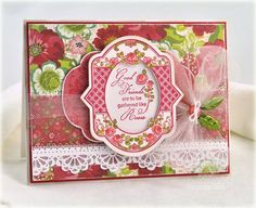 Simply stunning card designed by Debbie Olson using SPring Rose Medallions and Lace Borders One.