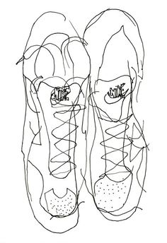 Blind Contour Drawing of Sports Shoes