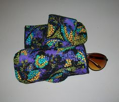 Purple batik eyeglass case  turquoise gold by ExpressionQuilts