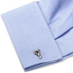 Men's Cufflinks with Etched Deer Head Design Sterling Silver - Allurez.com