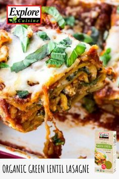 A vegan, gluten-free solution to lasagna is here with Explore Cuisine's Green Lentil Lasagne. This product is vegan, gluten-free, kosher, non-GMO and is packed with protein and easy to make. Spinach Mushroom Lasagna, Spinach Stuffed Mushrooms, Gourmet Recipes, Healthy Recipes, Healthy Food, Green Lentils, Quick Weeknight Dinners, Gluten Free Pasta, Casserole Dishes