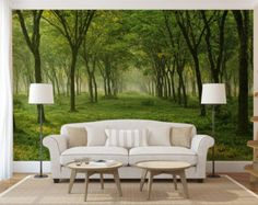 forest wall mural, tree opening wallpaper, self adhesive photo mural