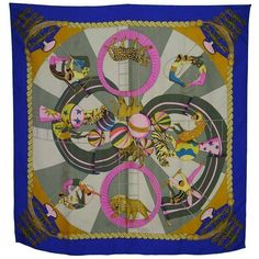Preowned Hermes Blue Multi-color Circus Animal Print Silk 90cm Scarf ($300) ❤ liked on Polyvore featuring accessories, scarves, blue, colorful shawl, pure silk scarves, colorful scarves, blue shawl and silk shawl