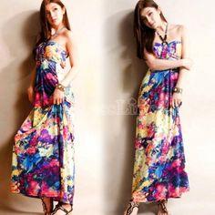 $10.70 Fashion Sweet Women's Girl Bohemia Dress Floral Print Strapless Maxi Long Beach Dress