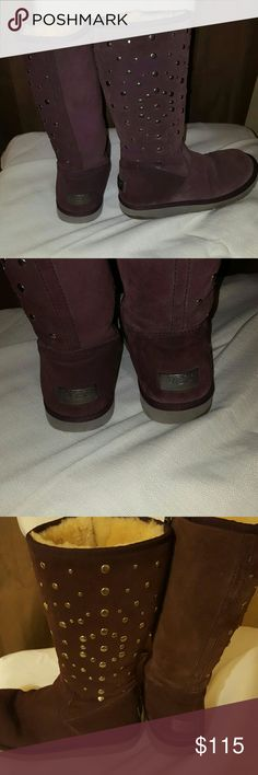 100% Authentic Rare Purple Uggs Excellent condition.  Love love love these boots 💜  Zip up sides. Metal tags on back. No missing studs. Almost don't want to part with them so sorry, will not negotiate price nor trade these especially since Posh takes a very big commission on this price. However, if you put in a bundle you'll save on them 💞 UGG Shoes Winter & Rain Boots