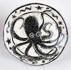 Handbuilt Round Octopus Serving Plate. $110.00, via Etsy.